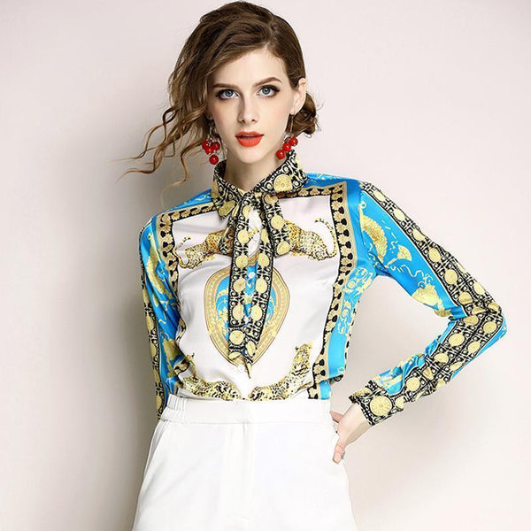 Silk Blouse Women Bow Collar Long Sleeve Blouse-Blouse-Kenya-LeStyleParfait.Co.Ke