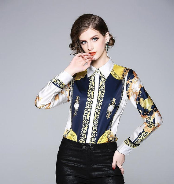Silk Blouse Women Trendy Long Sleeve Blouse-Blouse-Kenya-LeStyleParfait.Co.Ke