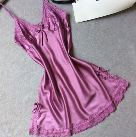 Sleepwear-Women Silk Satin Night Dress, Light Purple-Sleepwear-LeStyleParfait.Co.Ke