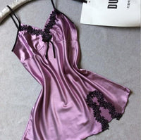 Sleepwear-Women Silk Satin Night Dress, Purple-Sleepwear-LeStyleParfait.Co.Ke