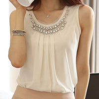 Sleeveless Pleated Chiffon Blouse For Women, White, Plus Size S-3XL-Blouse-LeStyleParfait.Co.Ke