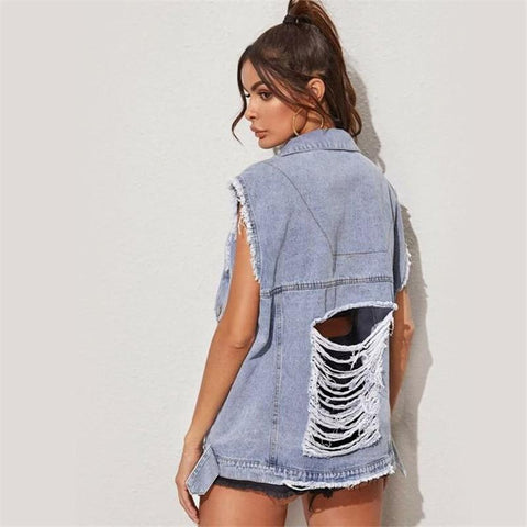 Sleeveless Ripped Denim Jacket For Women-Jacket-LeStyleParfait.Co.Ke