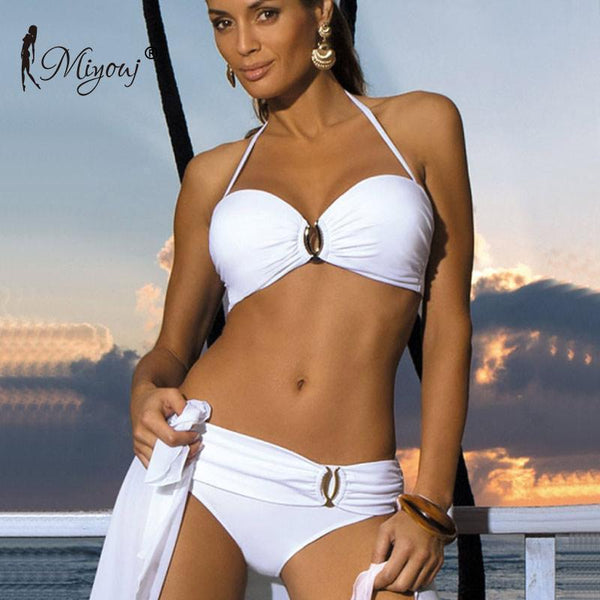 String Bikini Set, Solid Swimsuit With Buckle-Swimwear-Online-Le Style Parfait Kenya