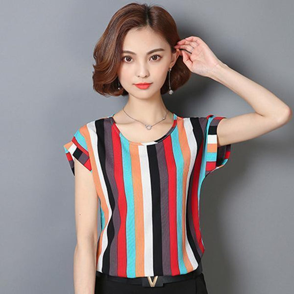Striped Chiffon Blouses Women Tops-Women Tops-Kenya-LeStyleParfait.Co.Ke