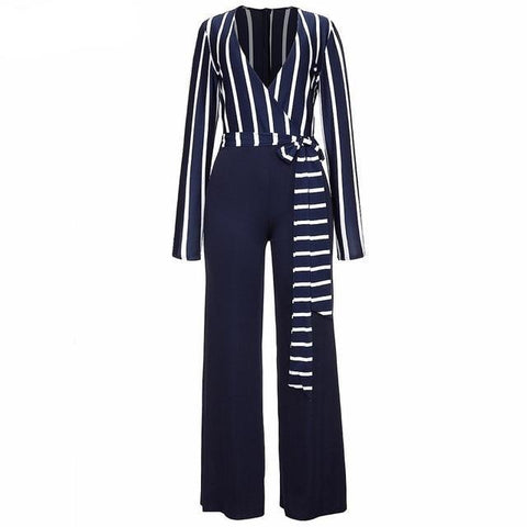 Striped Elegant Women's Jumpsuits-Casual, Clothing, Fashion, Jumpsuits, Overalls, Striped, V-Neck, Women-LeStyleParfait.Co.Ke