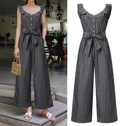 Striped Summer Vintage Jumpsuits For Women-Casual, Clothing, Fashion, Jumpsuits, Overalls, Plus Size, Ruffled, Summer, Wide Legged, Women-LeStyleParfait.Co.Ke