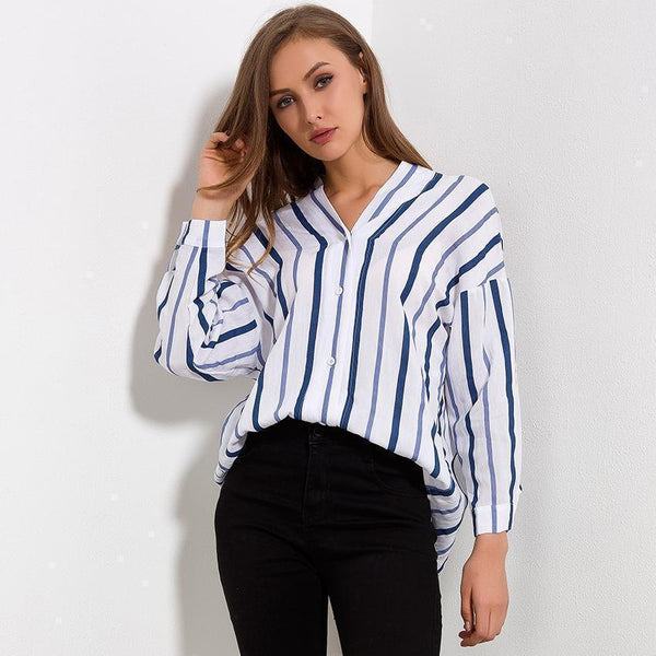 Striped Women Shirt V-Neck Cotton Blouse Loose-Blouse-Kenya-LeStyleParfait.Co.Ke