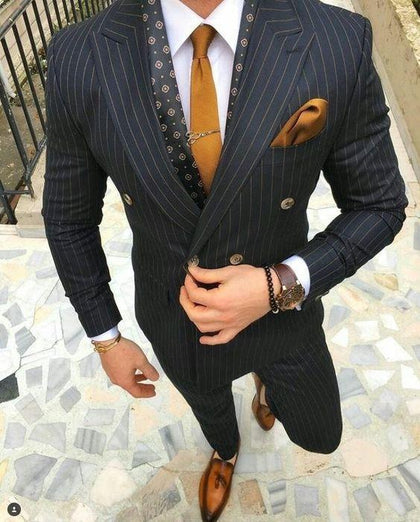 Suit Men's Double Breast Striped Suit-Suit-Kenya-LeStyleParfait.Co.Ke
