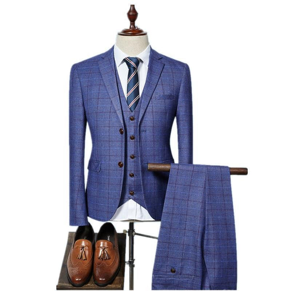 Suit Men's High quality Mens Suits Grid Stripe Suit Slim Fit Suit-Suit-Kenya-LeStyleParfait.Co.Ke
