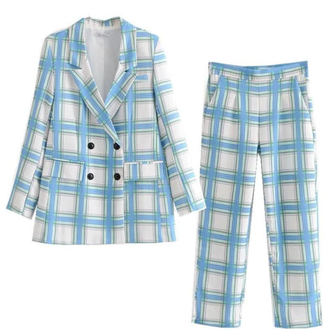 Suit-Women's Plaid Suit High Waist-Suit-Kenya-LeStyleParfait.Co.Ke
