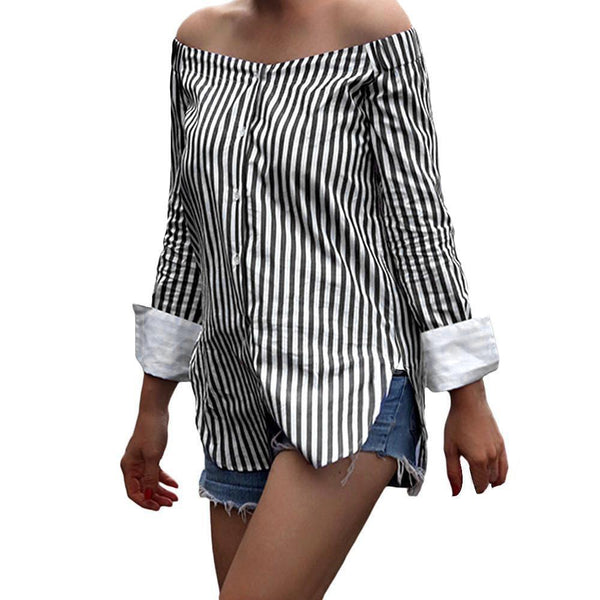 Summer Women Off Shoulder Blouse Stripes Print Slash Neck Blouse-Women Tops-Kenya-LeStyleParfait.Co.Ke