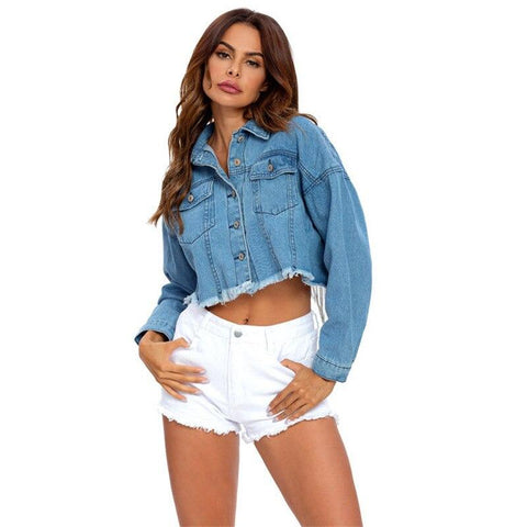 Trendy Denim Crop Jacket-Jacket-LeStyleParfait.Co.Ke