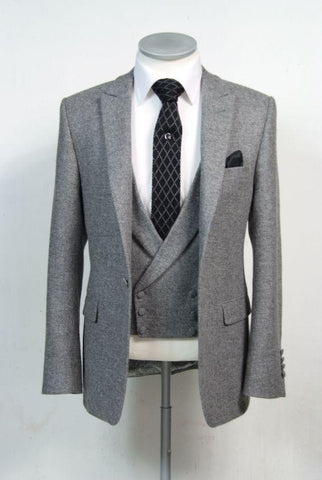 Tweed Double Breast Men's Suit Slim Fit 3 Piece Stylish Tuxedo Grey-Suit-Kenya-LeStyleParfait.Co.Ke