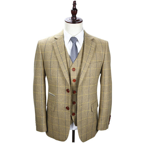 Tweed Herringbone Retro Men's Suit 3-Piece Wool Suit-Suit-Kenya-LeStyleParfait.Co.Ke