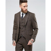 Tweed Men's Suit Wedding Tuxedo Suit 3 Piece Men Suits-Suit-Kenya-LeStyleParfait.Co.Ke