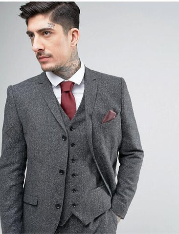 Tweed Suit Men's Plus Size 3-Piece Suit Grey-Suit-Kenya-LeStyleParfait.Co.Ke