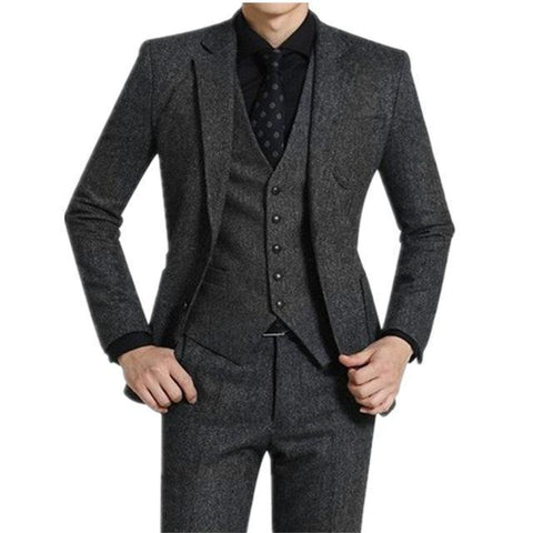 Tweed Suit, Men's Three Piece Suit, Grey-Suit-3 pieces-Le Style Parfait Kenya