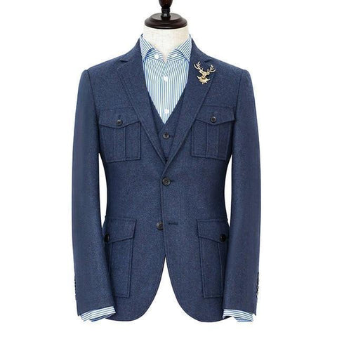 Tweed Suit, Men's Three Piece Suit With Pockets, Blue-Suit-Le Style Parfait Kenya