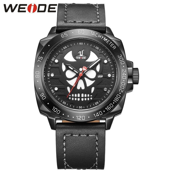 WEIDE Brand Watch Men's Leather Strap Cool Skull Dial Watch-Watches-Kenya-LeStyleParfait.Co.Ke