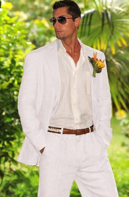 White Linen Men's Suit Beach 2-Piece Wedding Suits White-Suit-Kenya-LeStyleParfait.Co.Ke