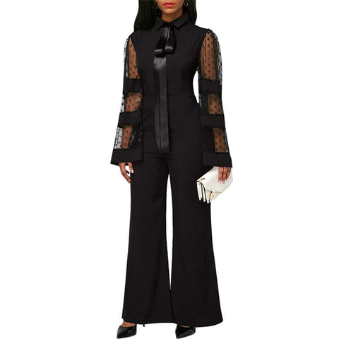 Wide Leg Evening Jumpsuits For Women-Casual, Clothing, Evening, Fashion, Jumpsuits, Lace, Overalls, Party, Wide Legged, Women-LeStyleParfait.Co.Ke