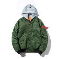 Windstorm Bomber Jacket-Jacket-Green Winter With Hoodie-Le Style Parfait Kenya