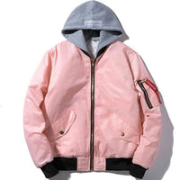 Windstorm Bomber Jacket-Jacket-Pink Winter With Hoodie-Le Style Parfait Kenya