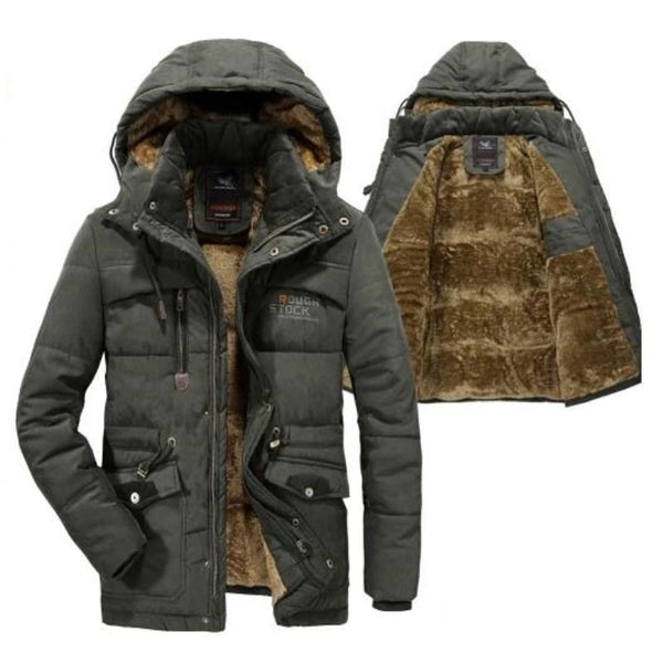 Winter Jacket, Men's Parka Fleece Fur Military Jacket-Jacket-Kenya-LeStyleParfait.Co.Ke