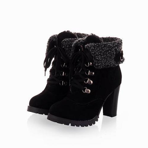 Winter Snow Boots Women Shoes Thick Heels With Fur-Shoes-Black-Le Style Parfait Kenya