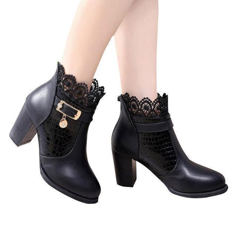 Women Ankle Boots Thick Heel Platform Shoes-Shoes-Black-Le Style Parfait Kenya