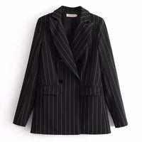 Women Blazer, Contrast White Striped Blazer-Blazer-Kenya-LeStyleParfait.Co.Ke