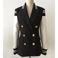 Women Blazer, Patchwork Leather Sleeve Blazer-Blazer-Kenya-LeStyleParfait.Co.Ke