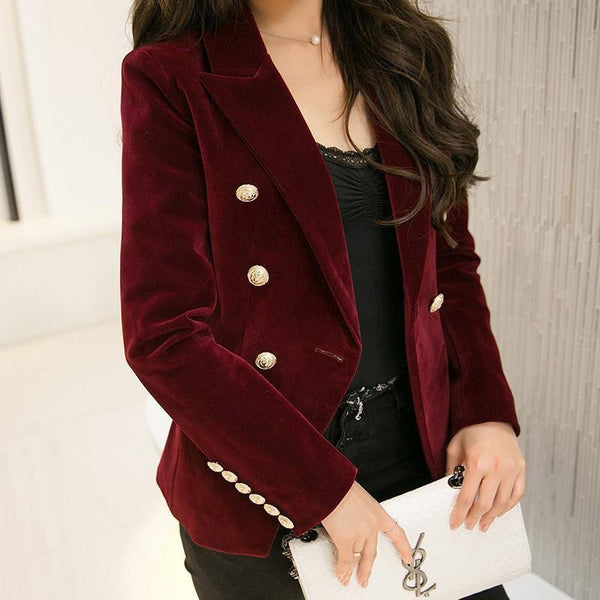 Women Blazer, Velvet Blazer, Double Breast-Blazer-Kenya-LeStyleParfait.Co.Ke