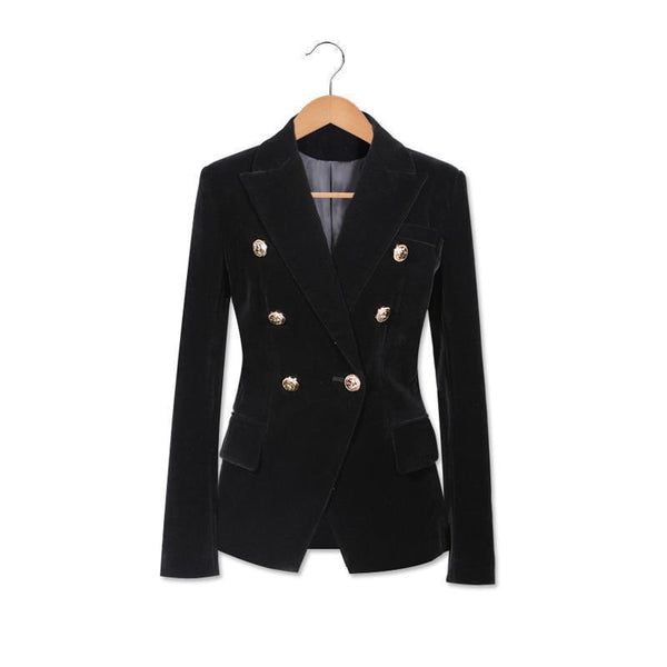 Women Blazer, Velvet Blazer Double Breasted-Blazer-Kenya-LeStyleParfait.Co.Ke
