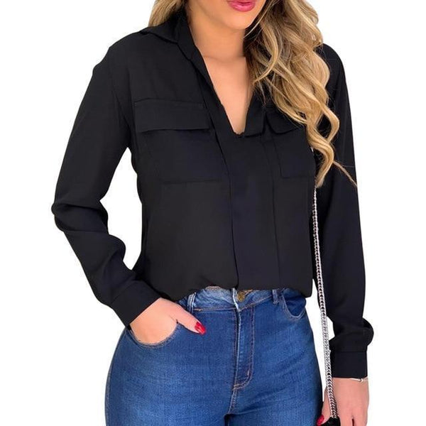 Women Blouse, Chiffon Blouse With Pockets, Plus Size-Blouse-Kenya-LeStyleParfait.Co.Ke