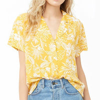 Women Blouse Floral Short Sleeves Summer Blouse Yellow-Blouse-Kenya-LeStyleParfait.Co.Ke
