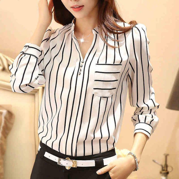 Women Blouses Plus Size Striped Blouses Chiffon Casual Shirt-Blouse-Kenya-LeStyleParfait.Co.Ke