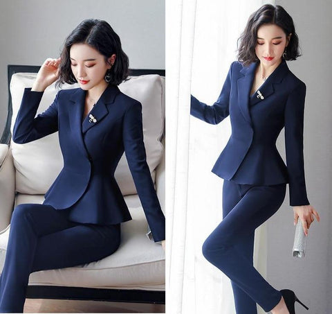 Women Business Suits With Peplum Blazer-Suit-LeStyleParfait.Co.Ke