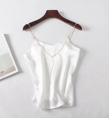 Women Crop Tops Summer Sexy V neck Silky Satin Camisole-Women Tops-Kenya-LeStyleParfait.Co.Ke