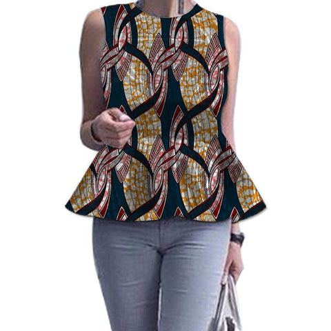 Women Dashiki Tops, Sleeveless African Women Tops, African Women Clothing-Women Tops-Kenya-LeStyleParfait.Co.Ke