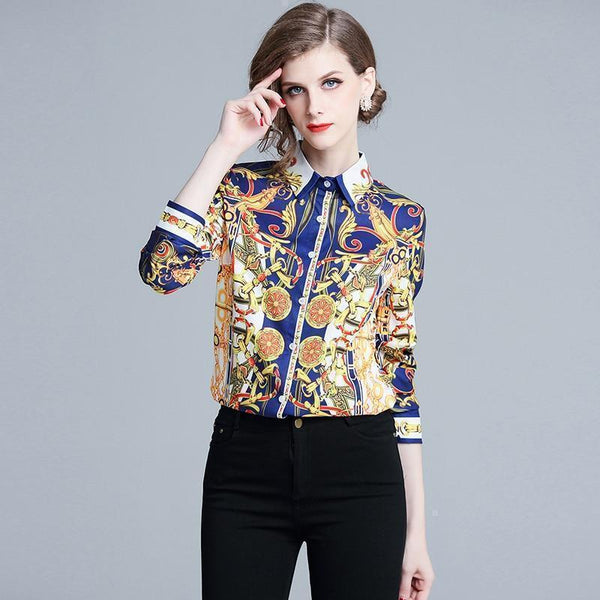Women Fashion Shirt Women Long Sleeve Vintage Silk Blouse-Blouse-Kenya-LeStyleParfait.Co.Ke
