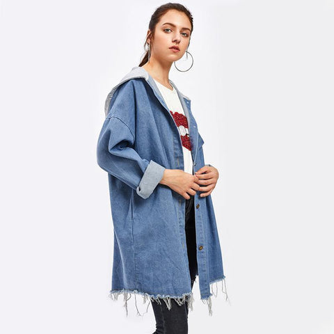 Women Hooded Denim Jacket Single Breast Long Jacket-Jacket-One Size-Le Style Parfait Kenya