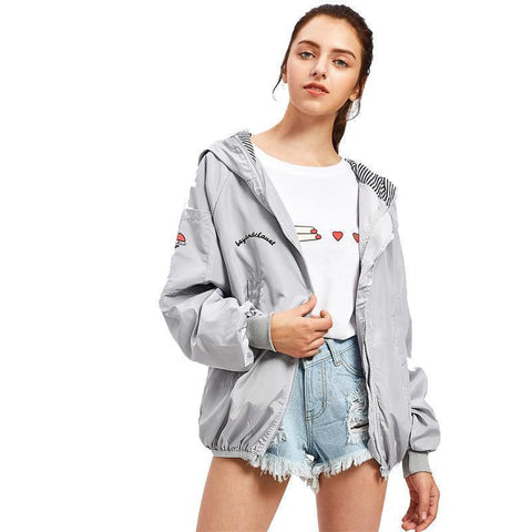 Women Jacket Zip Up Jacket Grey-Jacket-One Size-Le Style Parfait Kenya