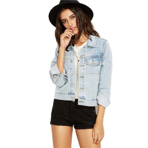 Women Jean Jacket Single Breast Jean Jacket-Jacket-Light Blue-Le Style Parfait Kenya
