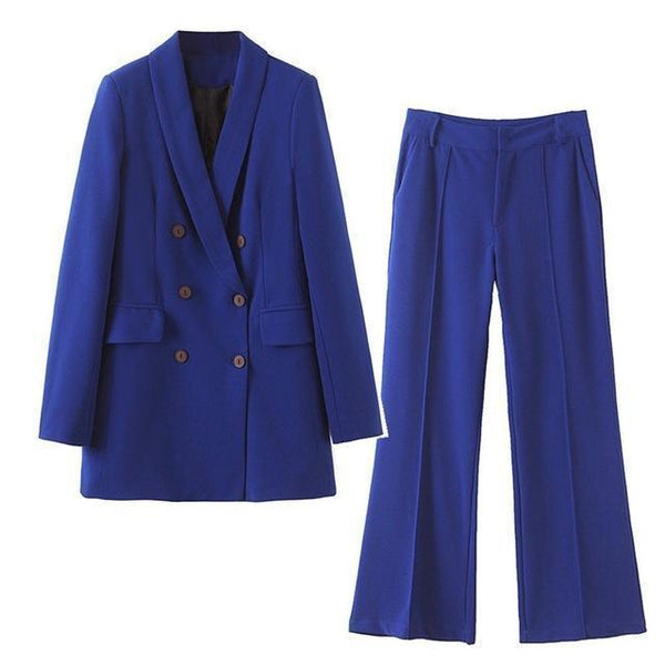 Women Pants Suit, Double Breast Suit, High Waist, Blue-Suit-Kenya-LeStyleParfait.Co.Ke