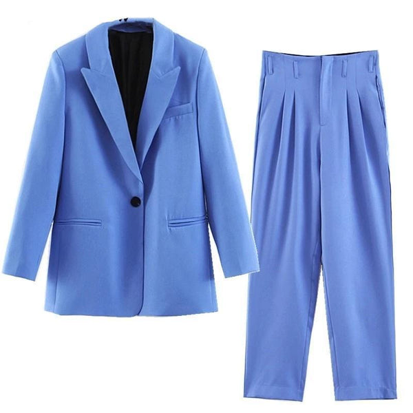 Women Pants Suit, One Button Suit, Pleated Pants, Blue-Suit-Kenya-LeStyleParfait.Co.Ke