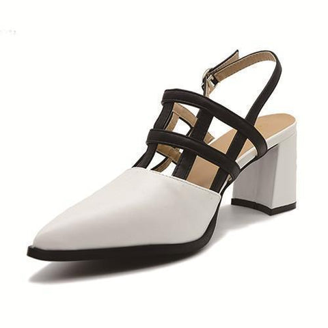 Women Sandals White Pointed Toe High Heels Sandals-Shoes-4.5-Le Style Parfait Kenya