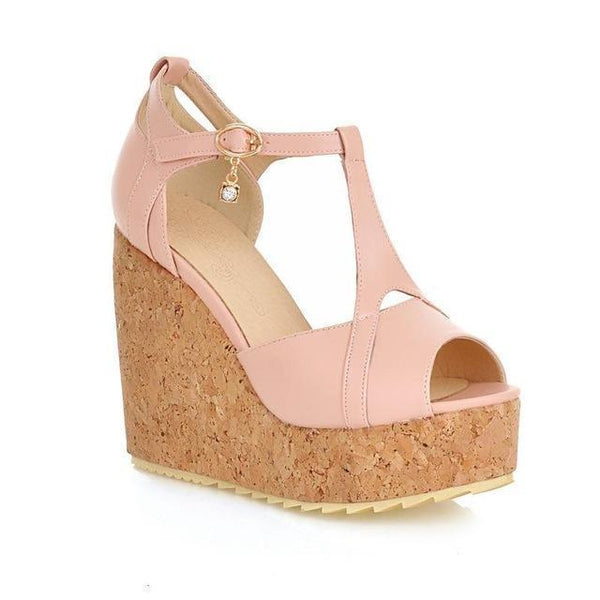 Women Sandlas Peep Toe Wedge Shoes-Shoes-Pink-Le Style Parfait Kenya