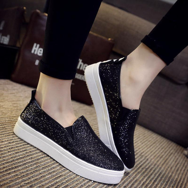 Women Shoes Casual Loafers Round Silver Sequins Casual Flat Shoes-Shoes-Black-Le Style Parfait Kenya