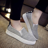Women Shoes Casual Loafers Round Silver Sequins Casual Flat Shoes-Shoes-Silver-Le Style Parfait Kenya